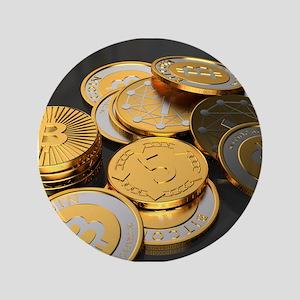 "Bitcoins on a table 3.5"" Button"