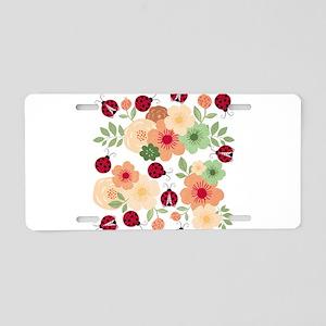 Mod Lady Bugs Flower Garden Aluminum License Plate