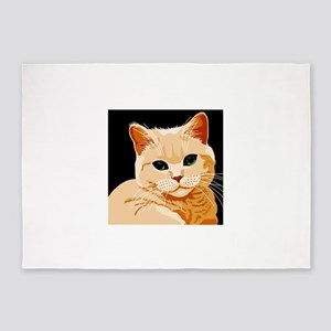 Green Eyed Ginger Tabby Cat 5'x7'Area Rug