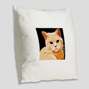 Green Eyed Ginger Tabby Cat Burlap Throw Pillow