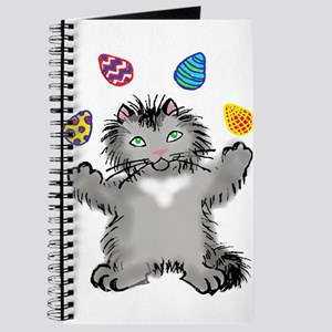 Grey Kitten Juggling Easter Eggs Journal