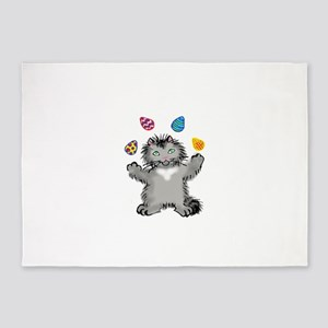 Grey Kitten Juggling Easter Eggs 5'x7'Area Rug