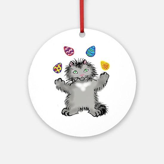 Grey Kitten Juggling Easter Eggs Ornament (Round)