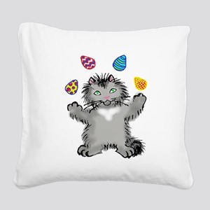 Grey Kitten Juggling Easter E Square Canvas Pillow