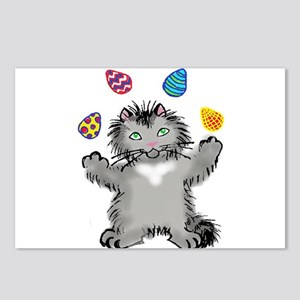 Grey Kitten Juggling East Postcards (Package of 8)