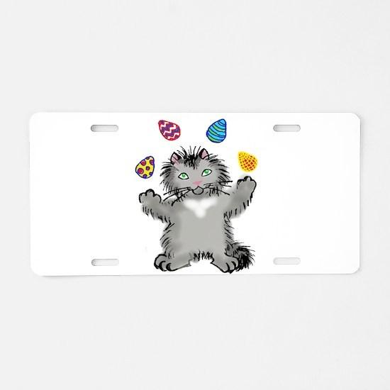 Grey Kitten Juggling Easter Aluminum License Plate