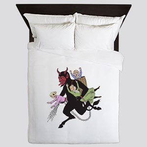 Krampus Catching Naughty Children Queen Duvet