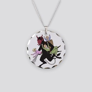 Krampus Catching Naughty Children Necklace Circle