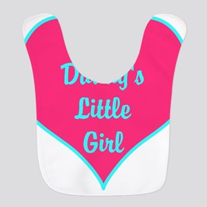 Daddys Little Girl Pink Teal Heart Bib