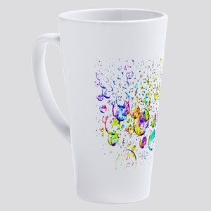 colored bubbles and music 17 oz Latte Mug