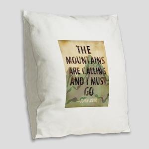 John Muir Mountains Burlap Throw Pillow