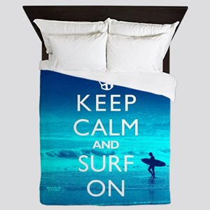 Keep Calm And Surf On Queen Duvet
