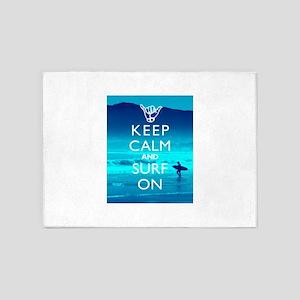 Keep Calm And Surf On 5'x7'Area Rug