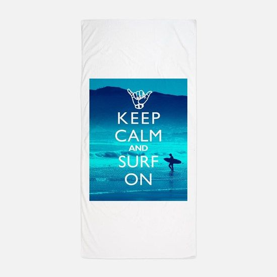 Keep Calm And Surf On Beach Towel