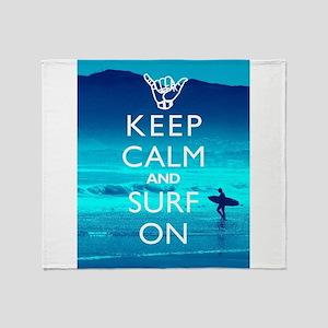 Keep Calm And Surf On Throw Blanket