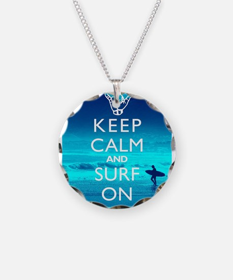 Keep Calm And Surf On Necklace