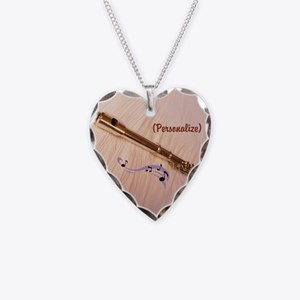 Personalize Flute Notes Necklace Heart Charm