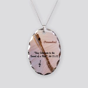 Personalizable Flute Sounds Necklace Oval Charm