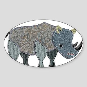 Patchwork Fabric Rhino Sticker
