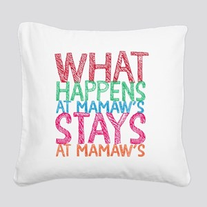 What Happens Square Canvas Pillow