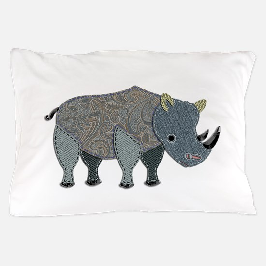 Patchwork Fabric Rhino Pillow Case