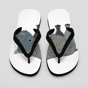 Patchwork Fabric Rhino Flip Flops