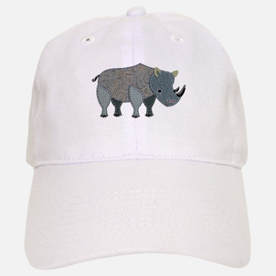 Patchwork Fabric Rhino Baseball Baseball Cap