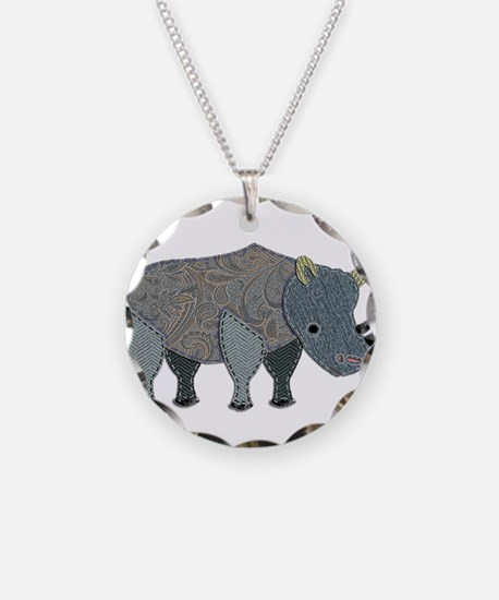 Patchwork Fabric Rhino Necklace Circle Charm