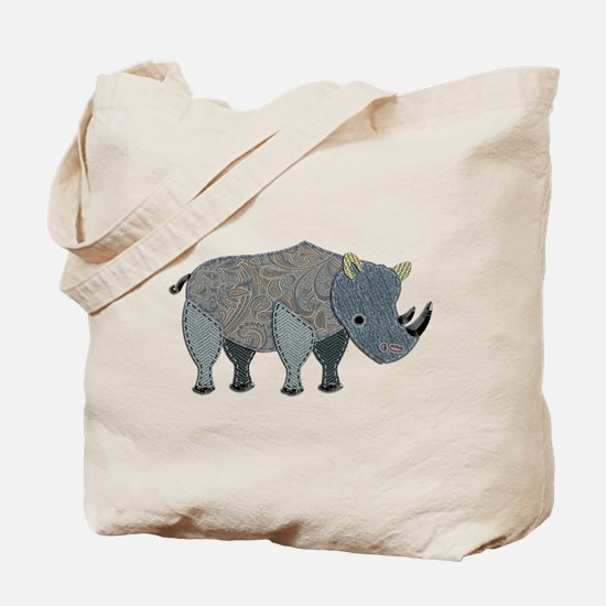 Patchwork Fabric Rhino Tote Bag
