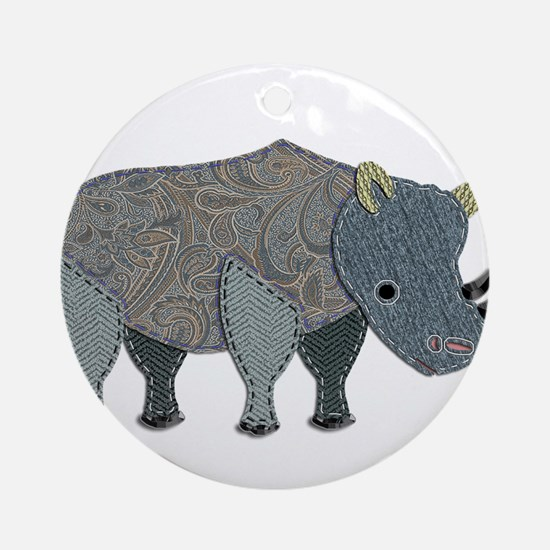 Patchwork Fabric Rhino Ornament (Round)