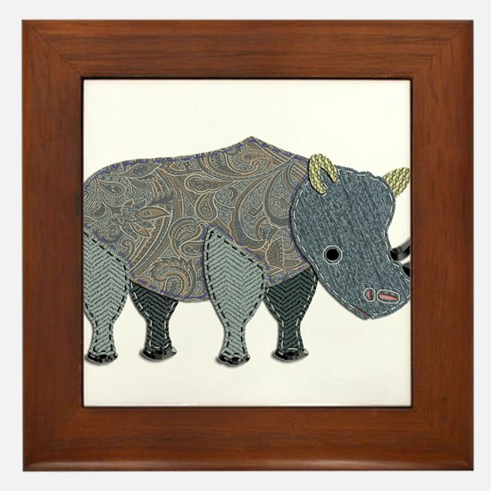 Patchwork Fabric Rhino Framed Tile