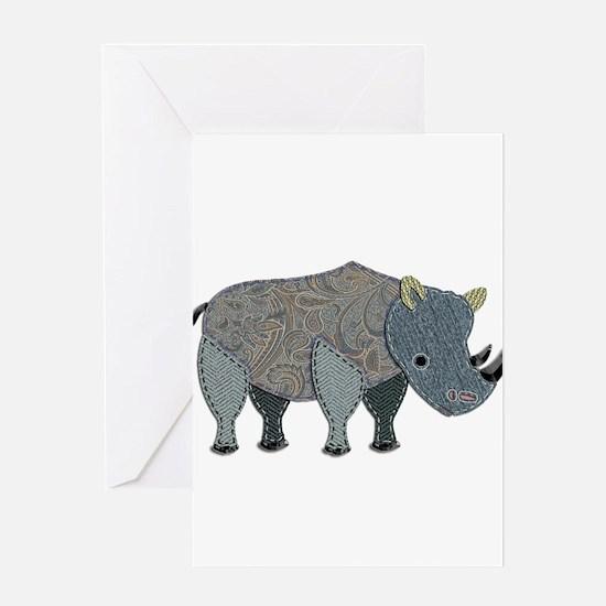 Patchwork Fabric Rhino Greeting Cards