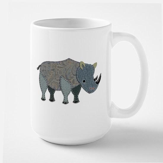 Patchwork Fabric Rhino Mugs