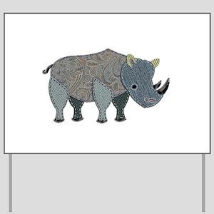 Patchwork Fabric Rhino Yard Sign