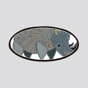 Patchwork Fabric Rhino Patches