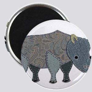 Patchwork Fabric Rhino Magnets