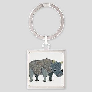 Patchwork Fabric Rhino Keychains