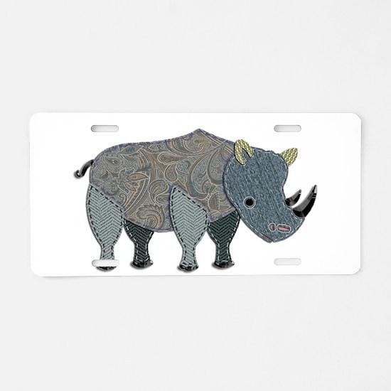 Patchwork Fabric Rhino Aluminum License Plate