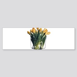 Yellow Tulips in a Glass Vase Bumper Sticker