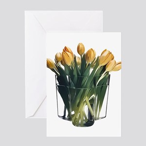 Yellow Tulips in a Glass Vase Greeting Cards