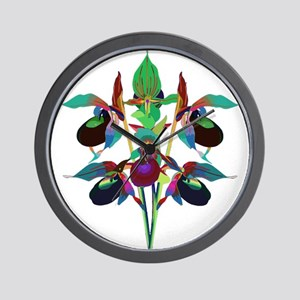 Solarized Purple Lady Slipper Orchids A Wall Clock