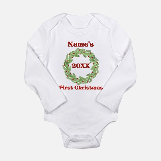 Wreath First Christmas Long Sleeve Infant Bodysuit