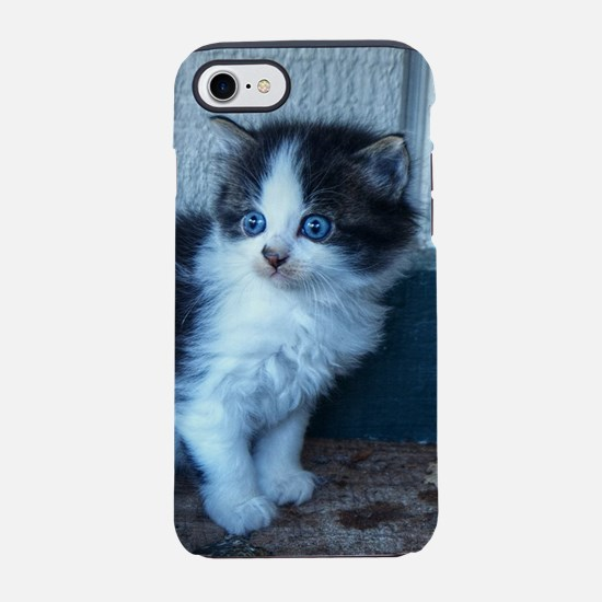 Black + White Kitten iPhone 7 Tough Case