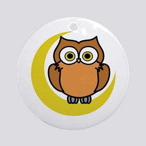 OWL ON MOON APPLIQUE Ornament (Round)