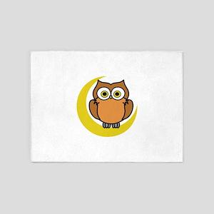 OWL ON MOON APPLIQUE 5'x7'Area Rug