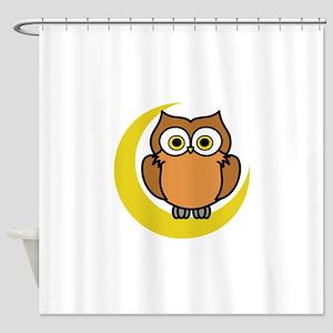 OWL ON MOON APPLIQUE Shower Curtain