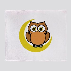 OWL ON MOON APPLIQUE Throw Blanket