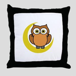 OWL ON MOON APPLIQUE Throw Pillow