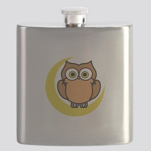 OWL ON MOON APPLIQUE Flask