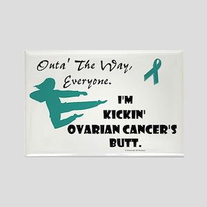 Kickin' Ovarian Cancer's Butt Rectangle Magnet
